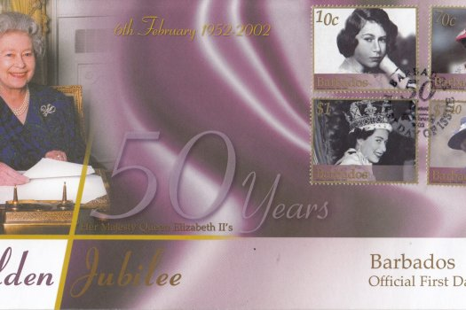 Barbados 2002 QEII Golden Jubilee FDC