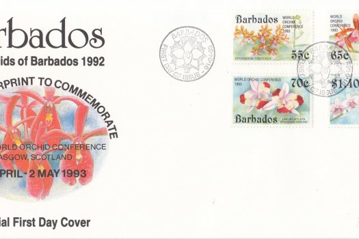 Barbados 1993 Orchids of Barbados - 14th World Orchid Conference Overprint FDC