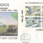 Barbados 1993 75th Anniversary of the Royal Air Force Souvenir Sheet FDC