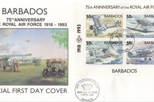 Barbados 1993 75th Anniversary of the Royal Air Force Souvenir Sheet FDC