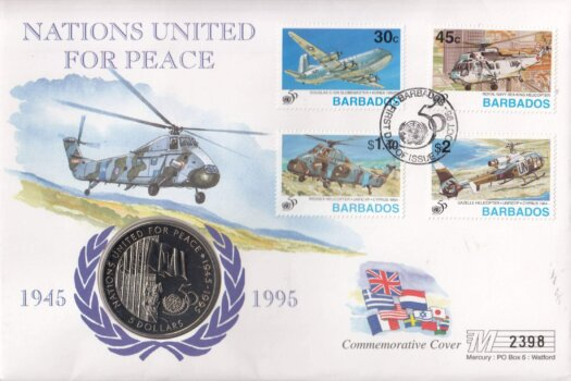 Barbados 1996 United Nations for Peace Coin Cover FDC