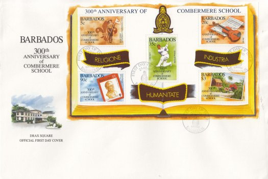 Barbados 1995 300th Anniversary of Combermere School Souvenir Sheet FDC