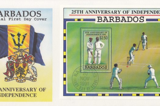 Barbados 1991 25th Anniversary of Independence Souvenir Sheet FDC