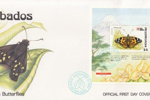Barbados 1991 Barbados Butterflies Souvenir Sheet FDC