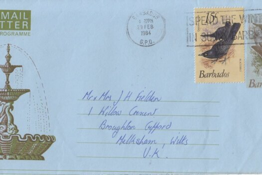 Barbados 1984 uprated 35c air ail letter (aerogramme) to UK