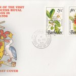 Barbados 1990 Visit of HRH The Princess Royal to Barbados (overprint) FDC