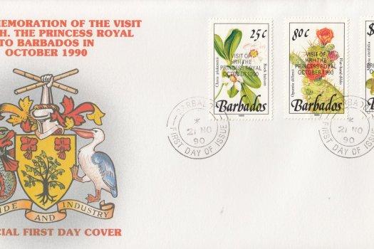 Barbados 1990 Visit of HRH The Princess Royal to Barbados (overprint) FDC