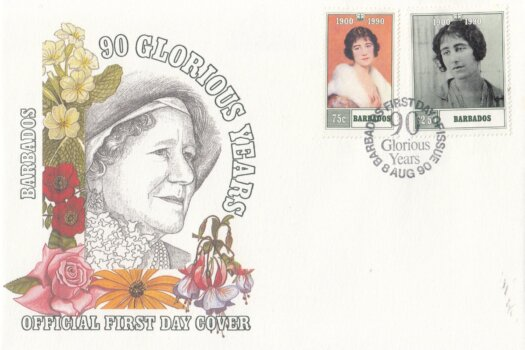 Barbados 1990 90 Glorious Years - The Queen Mother FDC