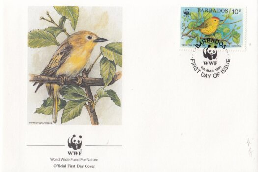 Barbados 1991 Yellow Warbler WWF Official FDC 1 of 4