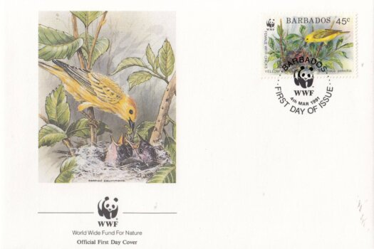 Barbados 1991 Yellow Warbler WWF Official FDC 3 of 4