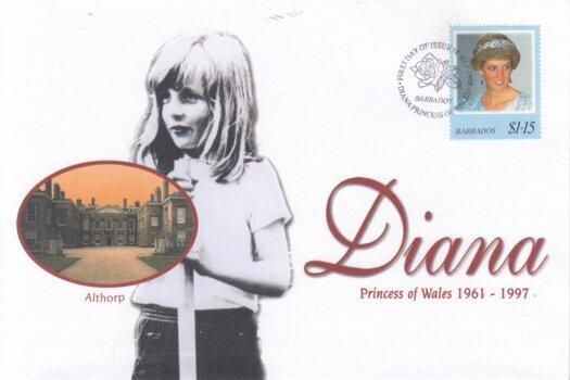 Barbados 1998 FDC Princess Diana on commemorative cover (1 of 4)