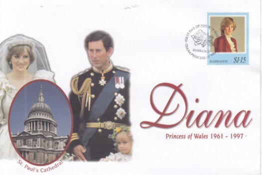Barbados 1998 FDC Princess Diana on commemorative cover (3of 4)