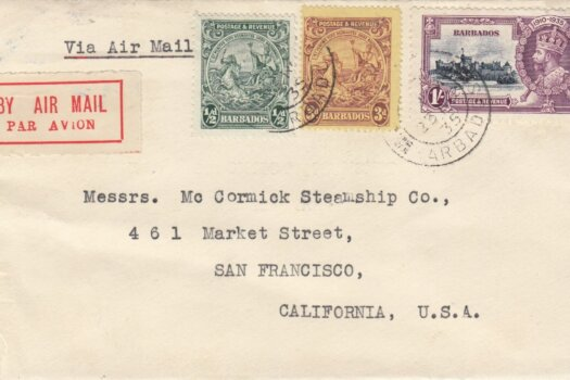 Cover from Barbados to San Francisco in 1935 paying 1/3½d rate.