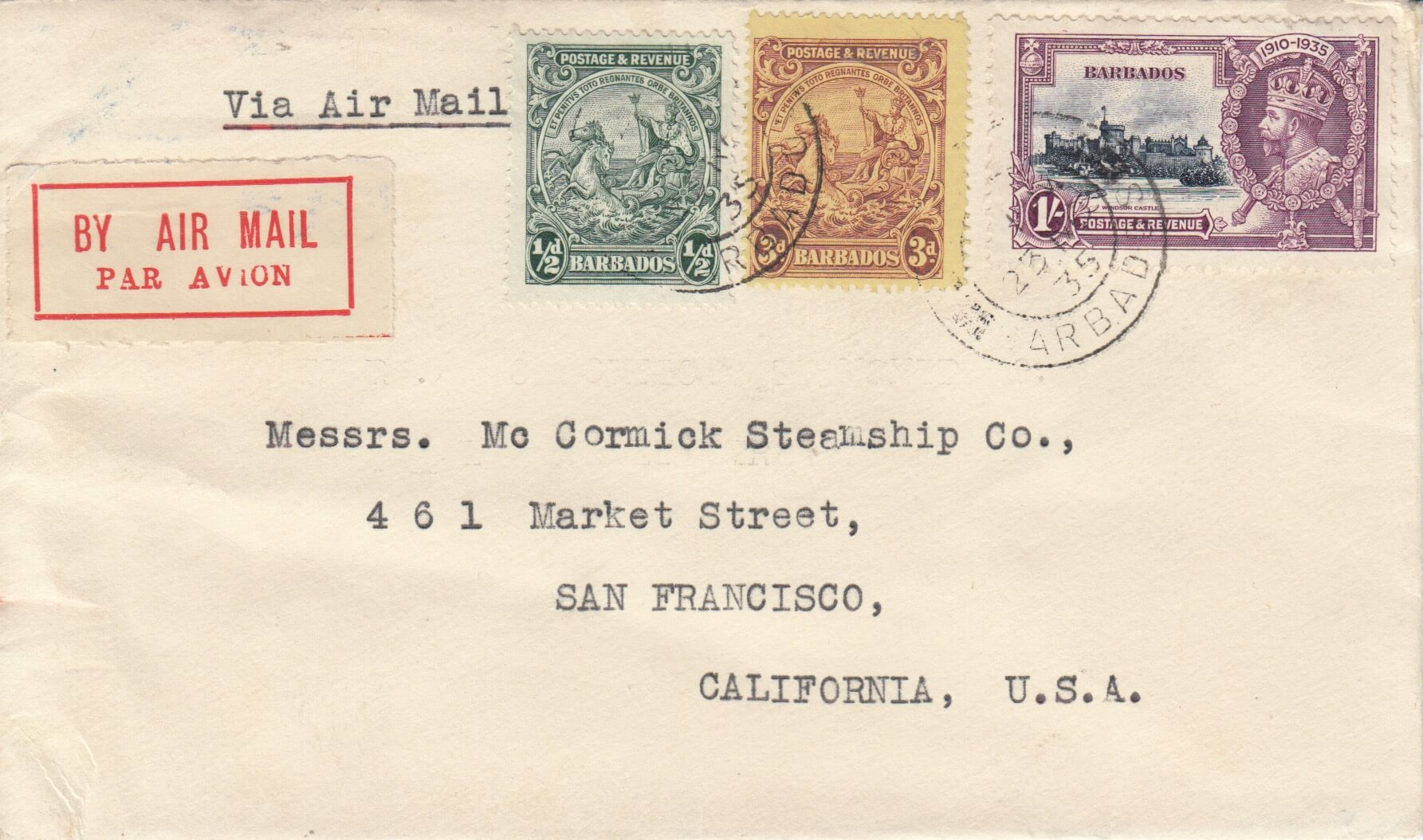 How did this cover from Barbados to San Francisco in 1935 pay the correct rate?