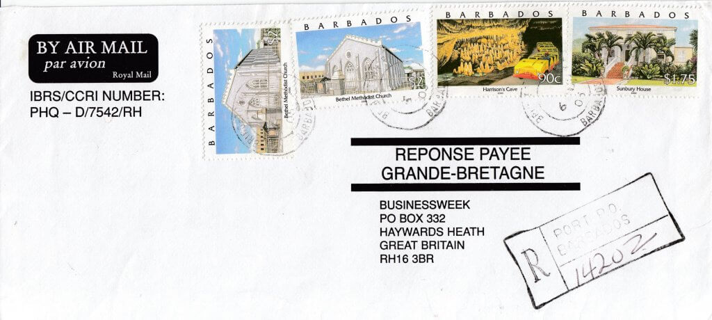 Barbados 2000 definitives on Registered Mail