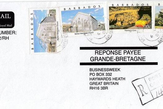 Barbados 2000 definitives on Registered Mail
