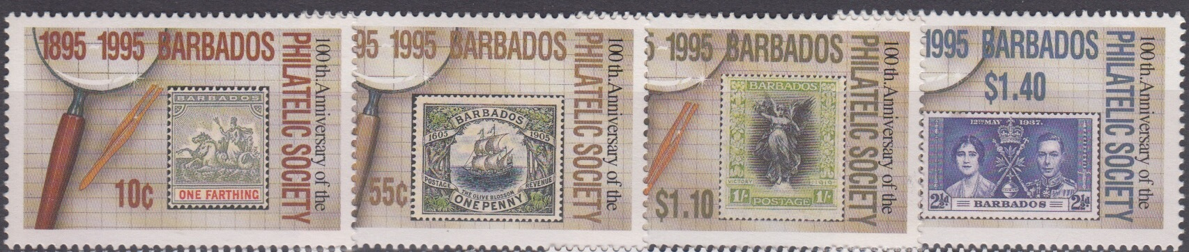Barbados SG 1066-69 | Centenary of Barbados Philatelic Society