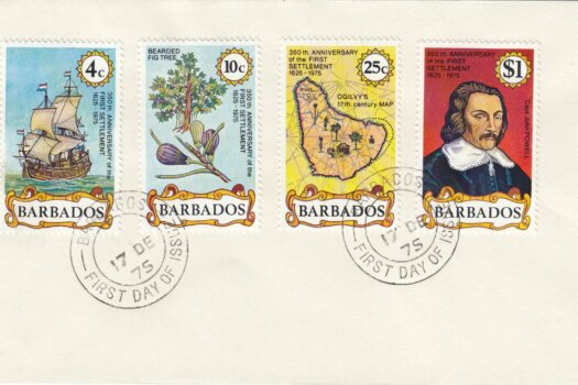Barbados 1975 350th Anniversary of First Settlement FDC - plain cover