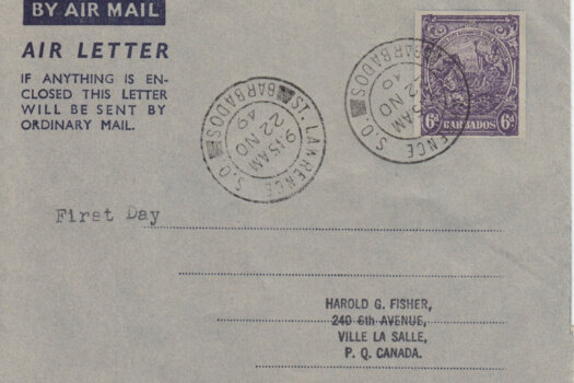 Barbados Air Mail Air Letter - FDC St Lawrence S.O. 22 NO 49