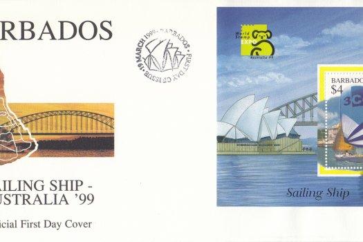 Barbados Sailing Ship Australia 99 Mini Sheet FDC