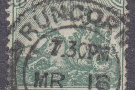 Barbados stamp used abroad - Runcorn cancel 7.30pm MR 18 1912