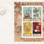 Barbados 1975 350th Anniversary of First Settlement Mini Sheet FDC - Plain Cover