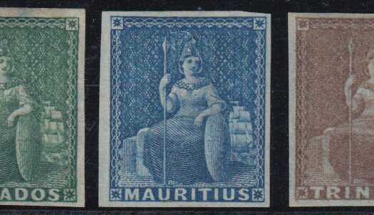 The plate of the early Britannia design of the 1850's was shared between Barbados, Mauritius and Trinidad