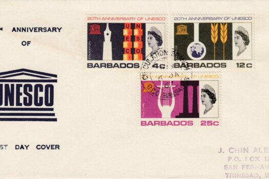 Barbados 1967 UNESCO 20th Anniversary FDC - illustrated cover v2