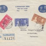 Coronation 1937 Barbados FDC - on pre printed cover