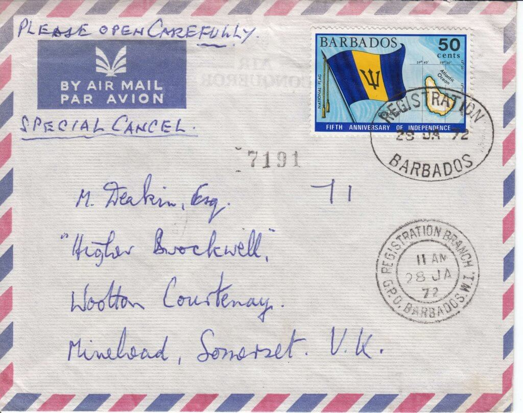 Barbados Air Mail cover with Registration Branch cancel