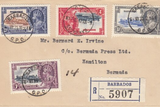 Barbados Silver Jubilee FDC 6th May 1935 on plain cover