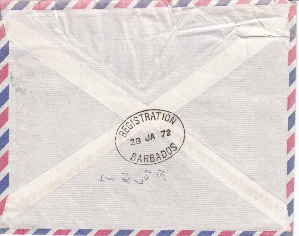 Barbados Air Mail cover with Registration Branch cancel - reverse