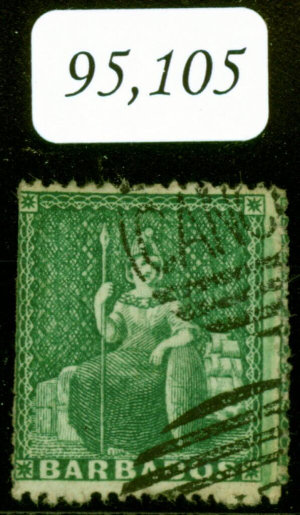 Barbados 1861 (1-2d) Deep Green SG17 H-S CANCELLED in Oval by Perkins & Bacon 3