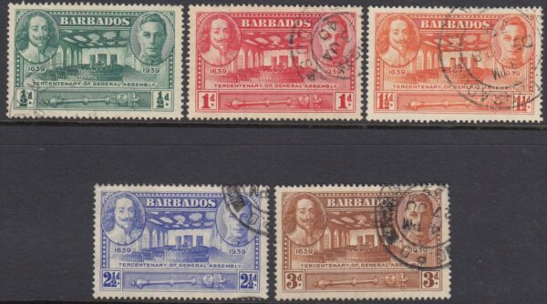 Barbados SG257-261   Tercentenary of General Assembly (Used)