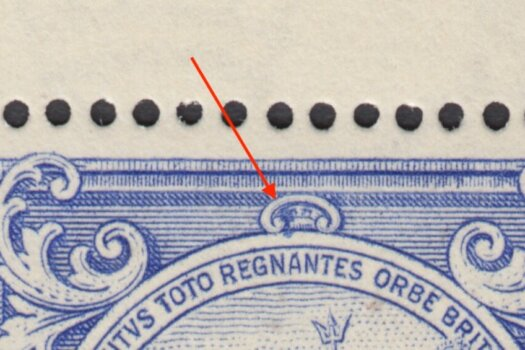 Barbados SG251a Mark on Central Ornament flaw