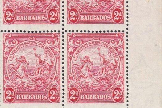 Barbados SG250da block with Extra Frame Line flaw