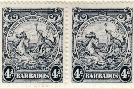 Barbados SG253b 4d Black Curved Line at top right flaw