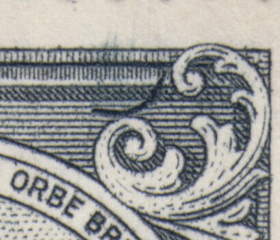Barbados SG253b 4d Black Curved Line at top right flaw close up