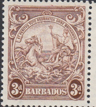 Barbados 252a 3d Brown Line over Horses Head Flaw