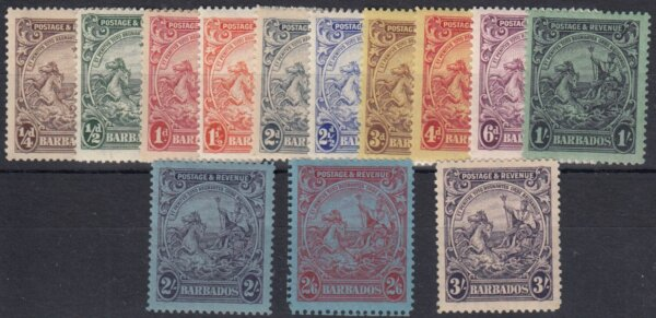 Barbados SG229-239 | Postage & Revenue set 1925-35 (mint)