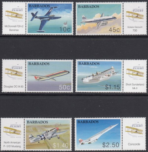 Barbados SG1235-1240 | Centenary of Powered Flight (with tabs)