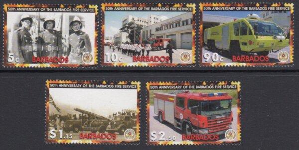 Barbados SG1281-1285 | 50th Anniversary of the Barbados Fire Service