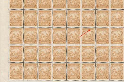 Sheet of Barbados SG248 with SG248cb Recut Line Flaw