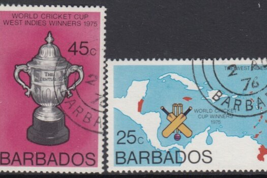 Barbados SG 559-560 | West Indian Victory in Cricket World Cup (used)