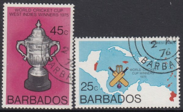 Barbados SG 559-560   West Indian Victory in Cricket World Cup (used)
