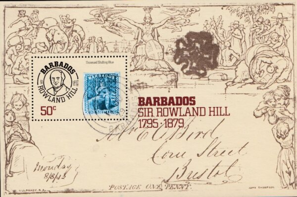 Barbados SGMS620 | Death Centenary of Sir Rowland Hill mini sheet (Used)