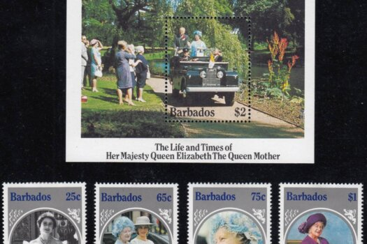Barbados SG779-82 plus SGMS620 | Life and Times of Queen Elizabeth the Queen Mother