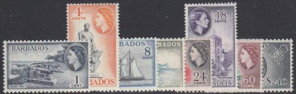 Barbados SG312-319 | QEII Definitive set reprints 1964