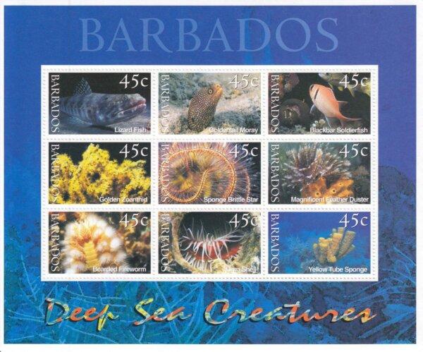 Barbados SG1180-1188 | Deep Sea Creatures Souvenir Sheet