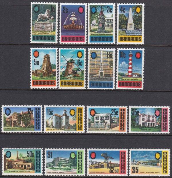 Barbados SG399-414 | Landmarks of Barbados Definitives 1970-71